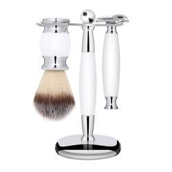 Цинкового сплава для бритья щетка для бритья Держатель подставка 3-в-1 белая ручка инструмент для бритья комплект профессиональный Для