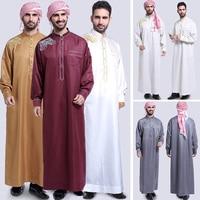 Muslim Men Robe Embroidery Stand Collar Long Sleeve Pockets Maxi Gown Middle East Arab Kaftan Abaya