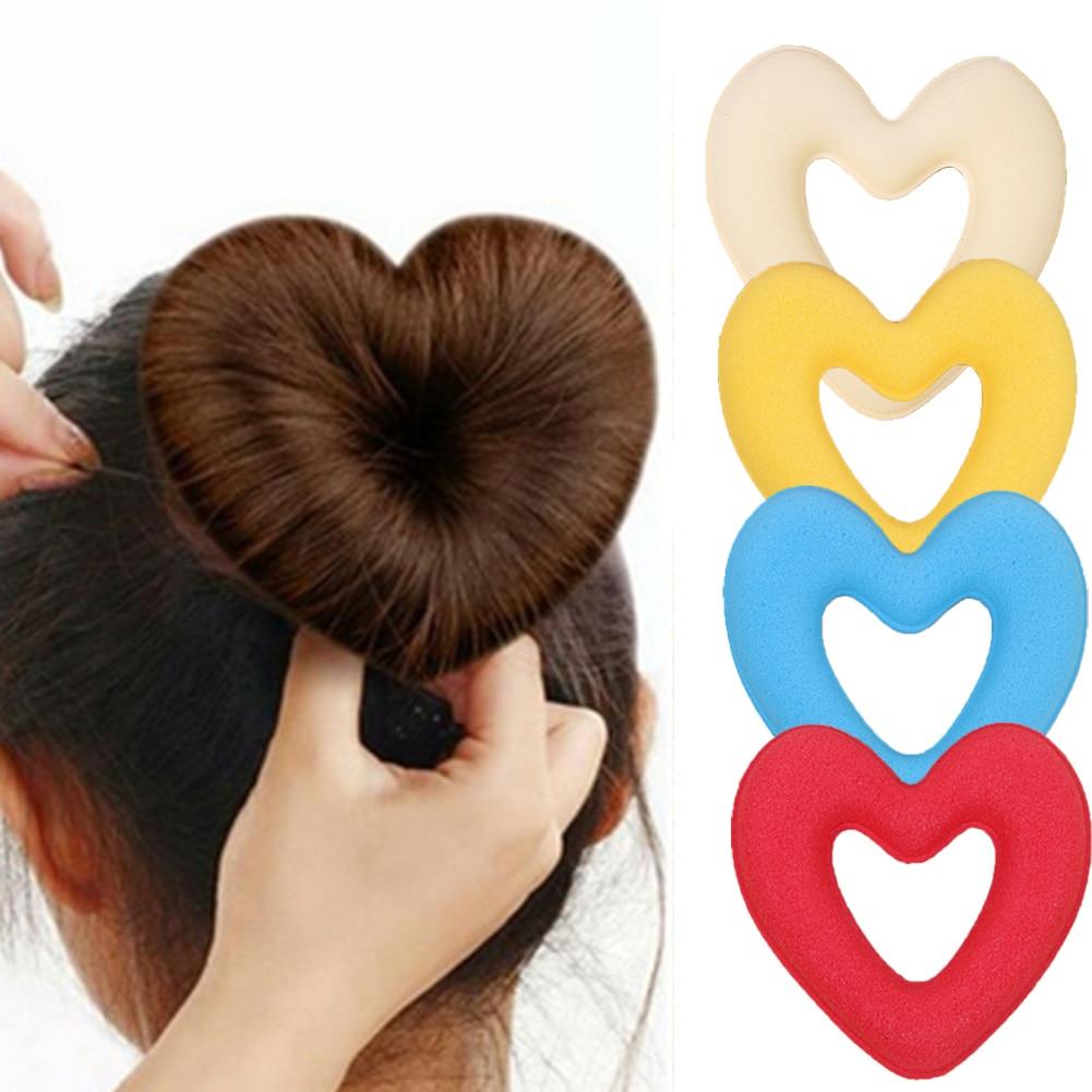 1PC Hair Donut Bun Heart MakerHot Magic Foam Sponge Headwear Disk Hair Device Bun Updo Headbands Acces Hair Tool