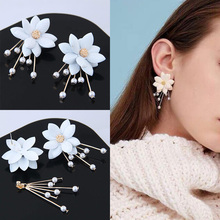 Hot Sale 2019 New Arrival Flowers Exquesite 1Pair Dangle Trendy Crystal Zinc Alloy Plant Girls Party Petal Sweet Drop Earring