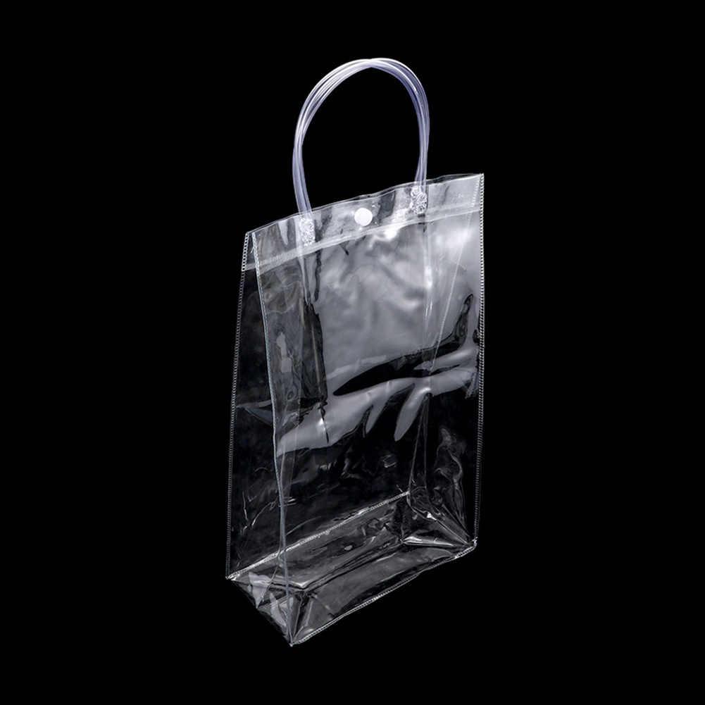 1Pc Fashion Jelas Tote Tas PVC Transparan Tas Belanja Tas Tangan Wanita Tahan Lama Stadion Disetujui Ramah Lingkungan Tas Penyimpanan