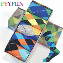 2019 Sokken 5 Pairs Of Funny Color Patterns Men s Socks Happy Combed Cotton Cool Colorful