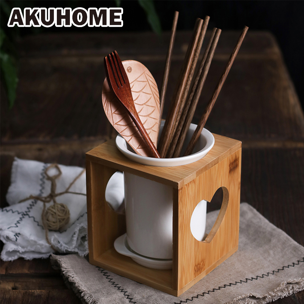 Ceramic Drain Chopsticks Holder With A Wooden Body Simple And Creative Chopstick Holder Lovely Spoon Rack AKUHOME