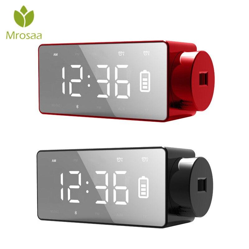 Top Sans Fil De Charge De Projection Numérique D'alarme Horloge Bluetooth Haut-Parleur LED Grand Écran horloge Snooze FM DIY Alarme Horloges de Table