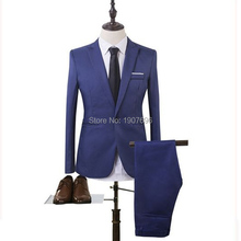 Royal Blue Slim Fit Formal Men Suits for Wedding Prom Party 2019 Two Piece Jacket Pants Peaked Lapel Groom Tuxedos Male Blazer