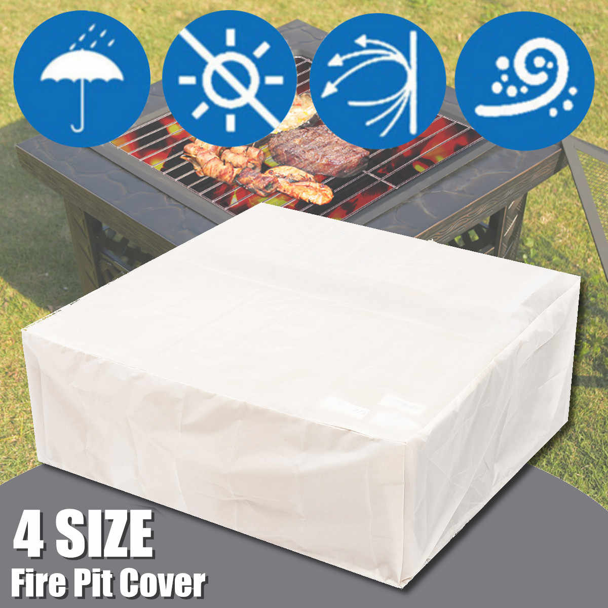 Outdoor Oxford Cloth FirePit BBQ Cover Backyard Garden Waterproof Protector  Cover 4 Sizes Dust Covers All-Purpose Cover