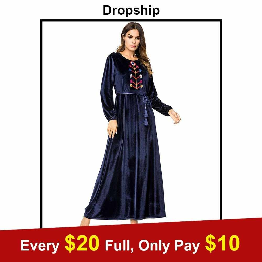 d36aec1a0cec Driopship Velvet Chic Floral Embroidery Women Dress Autumn Fall 2018 Maxi  Long Dresses High Waist Swing