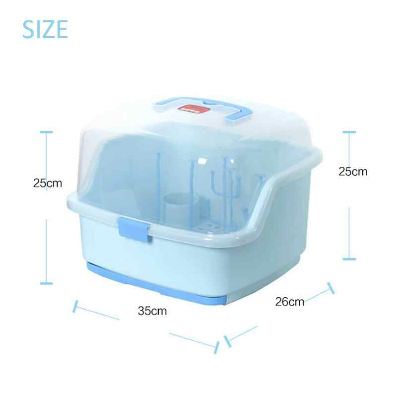 Baby Portable Plastic Milk Bottle Storage Box With Bottle Drying Rack Dinnerware Dustproof Organizer Baby Food Container Box