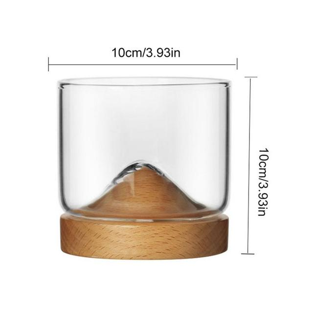 Whiskey Small Glass Cup Japanese StyleGlass Unique Design Elm Black Walnut Bottom High Temperature Resistance Wine Glass 3