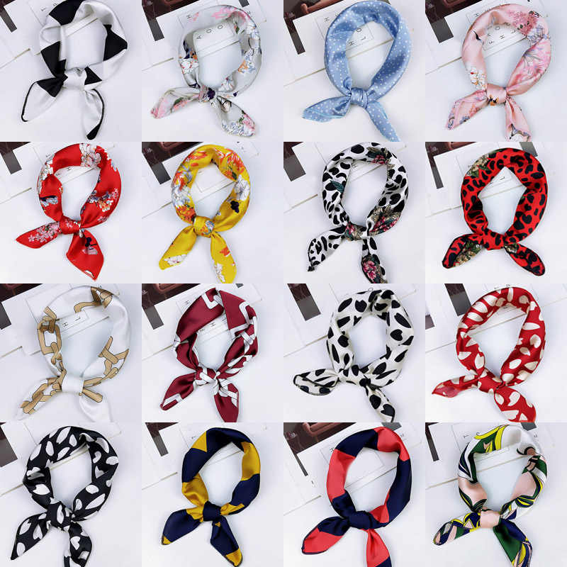 Fashion 50cm Square Scarf Hair Tie Band For Business Party Women Elegant Small Skinny Head Neck Silk Feel Satin Scarf
