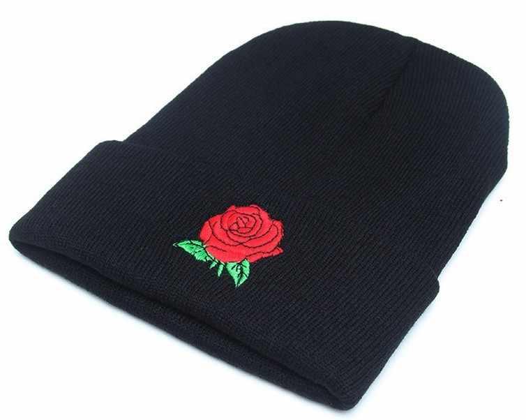 2 ชิ้นคู่ใหม่รูปแบบหมวกฤดูใบไม้ร่วงและฤดูหนาว Rose เย็บปักถักร้อยแฟชั่น Pullover หมวกกลางแจ้งคนรักถักหมวก