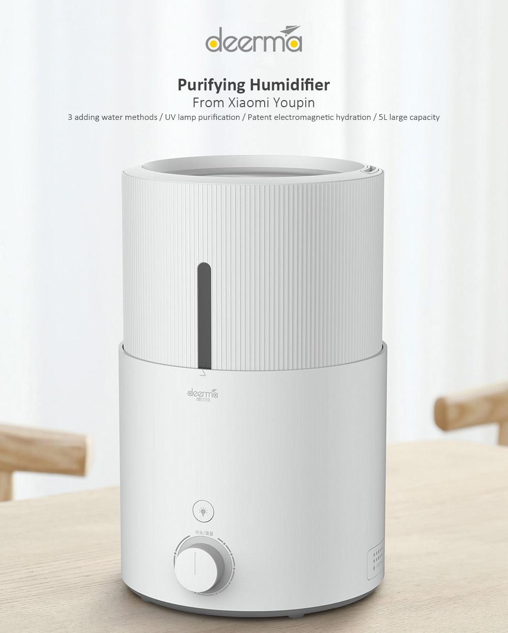 лучшая цена Original Xiaomi Mi Home Deerma DEM SJS600 Ultrasonic Air Humidifier Large 5L Capacity Purifying Humidifier Xiaomi Youpin