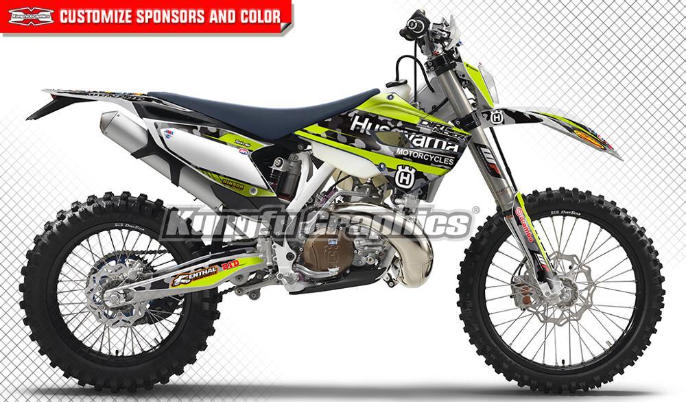 KUNGFU GRAPHICS Dirt Bike Stickers Motocross Racing Decals Kit for Husqvarna TE FE TC FC 125