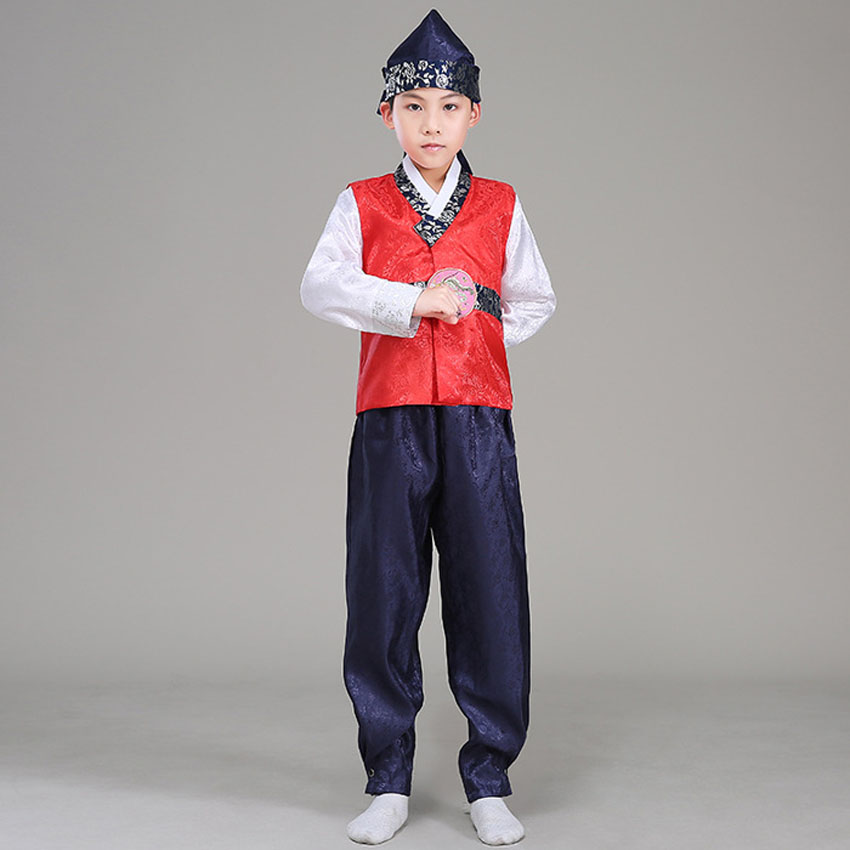 110-150cm Kids Boys Korean Traditional Costumes 4PCs Hat+Tops+vest+pants Embroidery Clothing Set Hanbok Dance Stage Wear