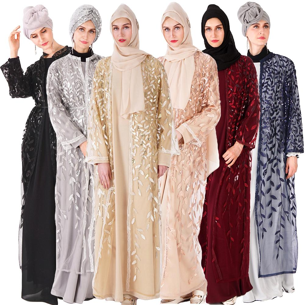Islamic Clothing Novelty & Special Use Fashion Sequin Belted Open Stich Muslim Dress Abaya Islamic Clothing Women Jilbab Djellaba Robe Musulmane Turkish Baju 5xl Available In Various Designs And Specifications For Your Selection