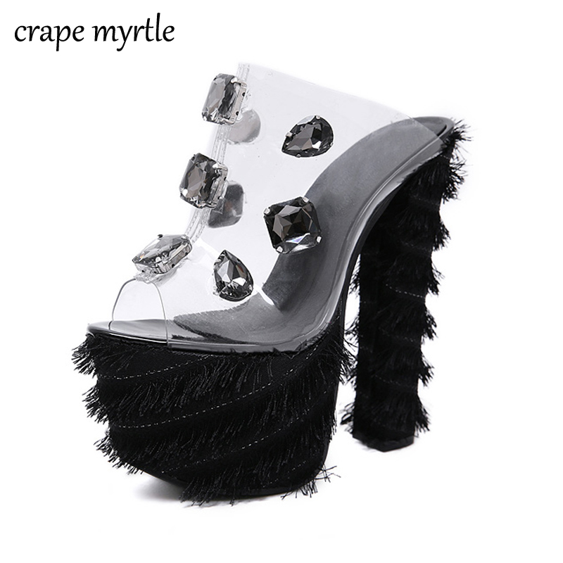 crystal Sandals chunky high heels Summer shoes Women Sexy Rhinestone Sandals female High-heeled Shoes Thick Heel Sandals YMA622