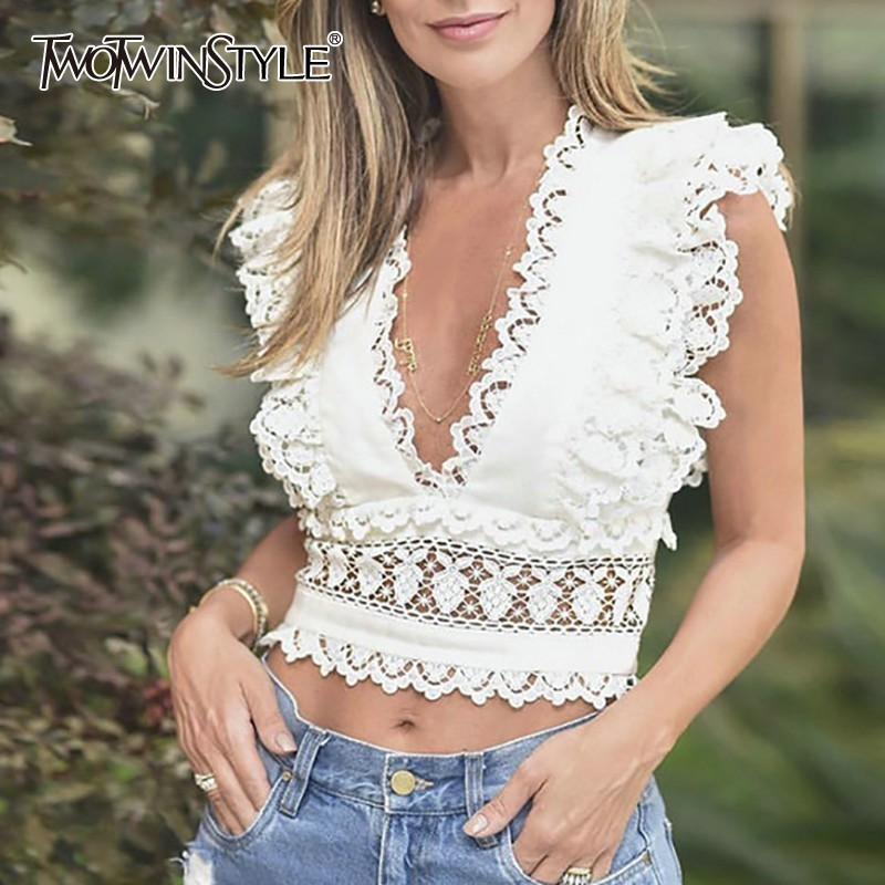 TWOTWINSTYLE Lace Patchwork Sleeveless Crop Tops TBL19328
