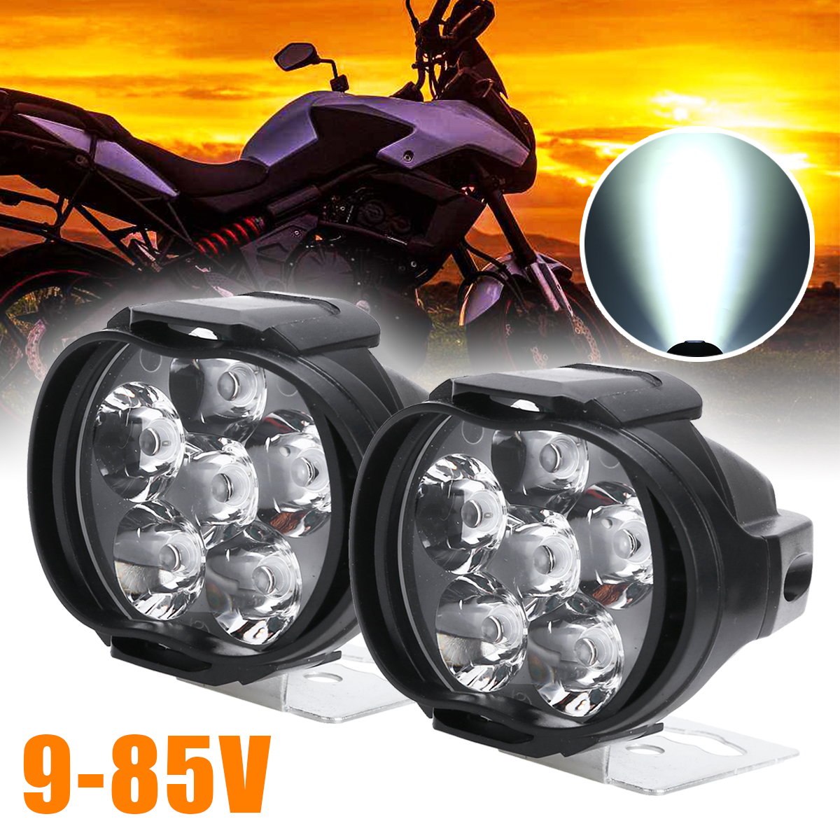 Universal 2pcs Motorcycle Headlight Scooter Fog Spot Light LED Motorbike ATV Moto Working Head Lamp White DRL Car Headlamp
