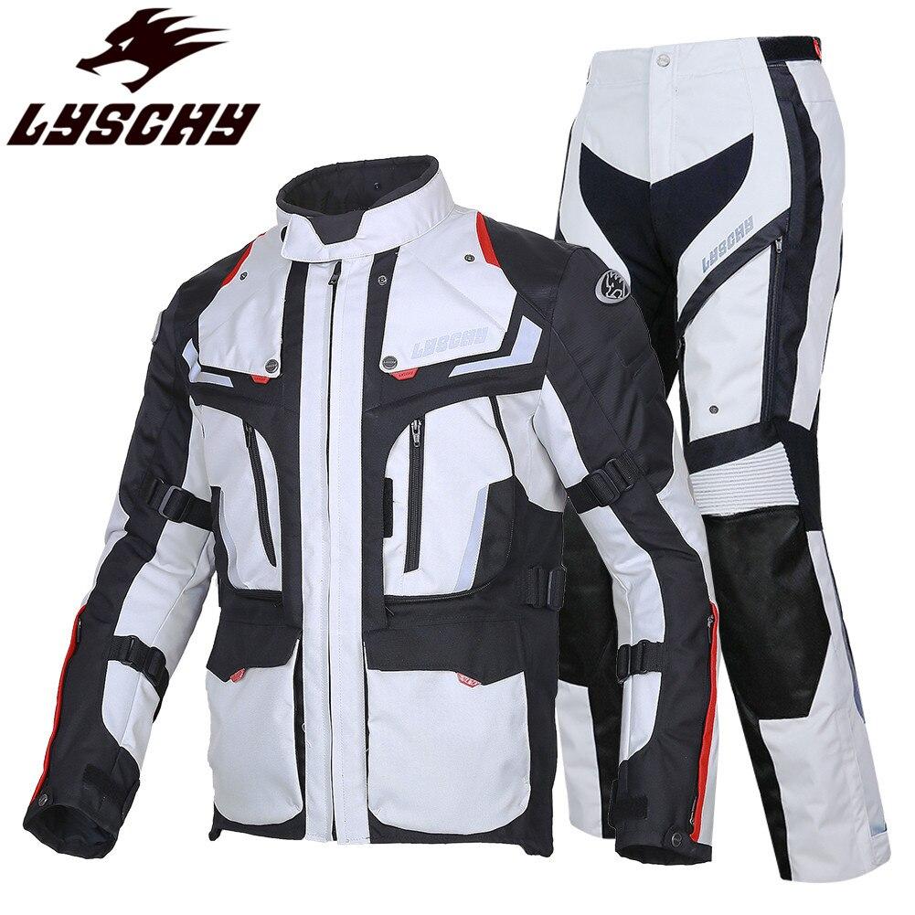 LYSCHY 3-couche Touring équitation Moto veste pantalon Moto Body Armor costume vêtements manteau cavalier Chaqueta Enduro imperméable vestes