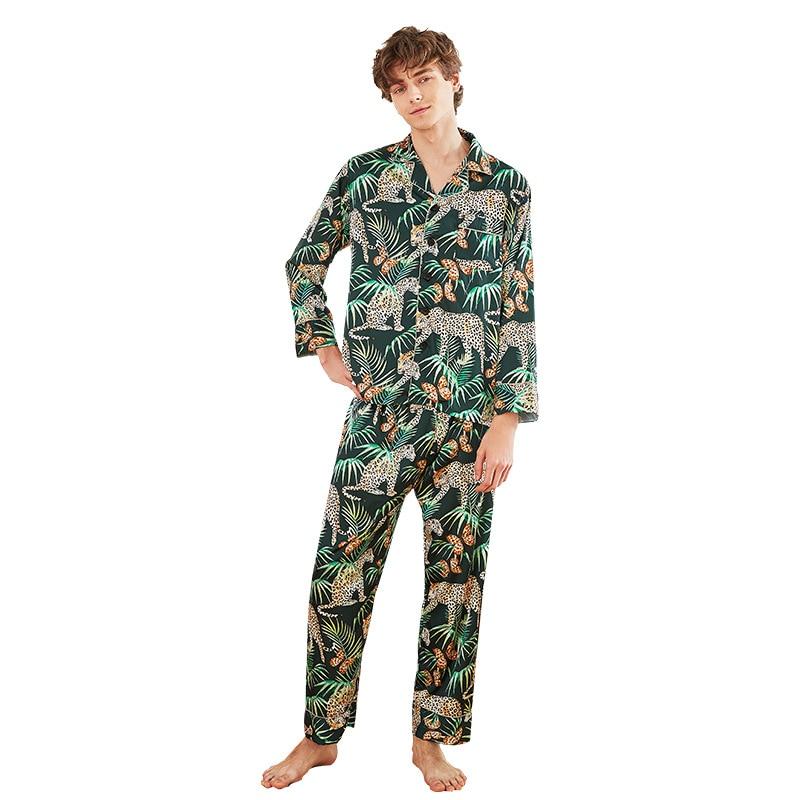 2019 Men Pajamas Sets With Pants Flower Print Nightwear Pyjama Satin Sleepwear Silk Loose Two Piece Long Sleeve Pijama