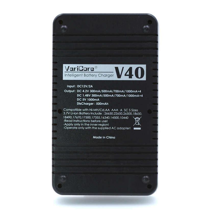 Varicore V40 Lcd E-السجائر شاحن بطارية 3.7 فولت 18650 26650 18500 16340 14500 18350 بطارية ليثيوم 1.2 فولت Aa Nimh بطاريات E