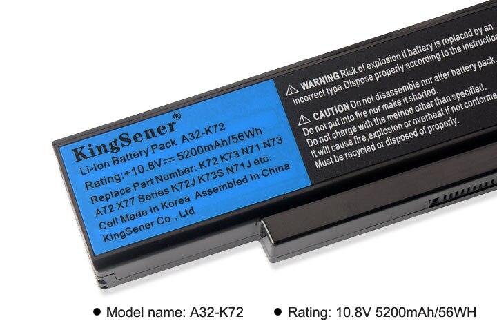 KingSener Korea Cell A32-K72 A32-N71 Battery For ASUS K73E N71 N71J N71JA N71JQ N71JV N71V N71VG N71VN N73 N73F N73S N73SV X77JA