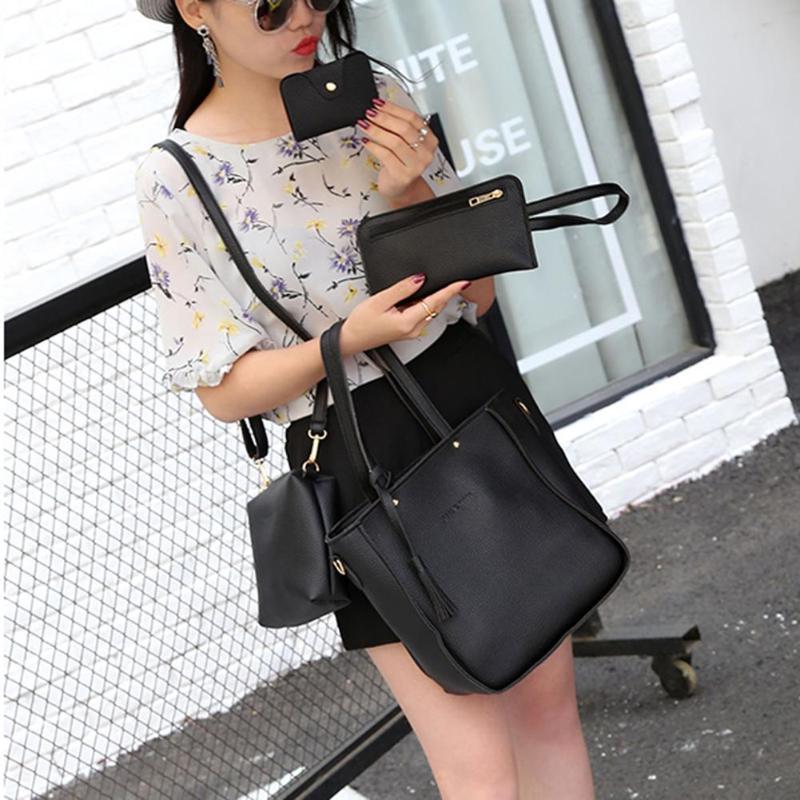 4pcs/set Litchi Leather Tassel Handbags  3