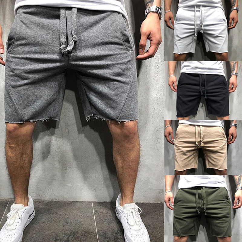 Fitness-String Shorts Pocket Men's Cotton Fashion New-Style Hot Solid Loose Casual