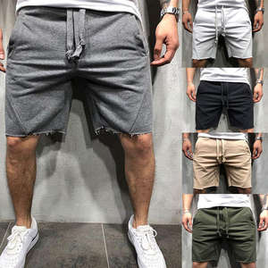 Fitness-String Shorts Pocket Cotton Loose-Wear Fashion Hot Solid Casual with Men's New-Style