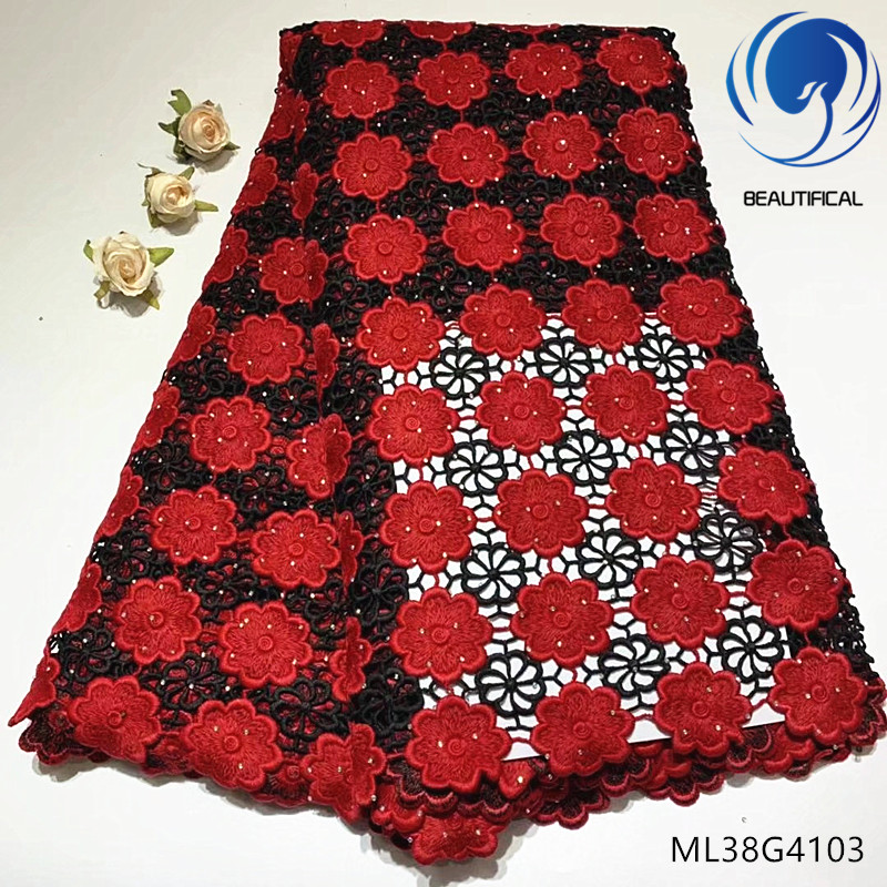 BEAUTIFICAL african cord embroidery lace rhinestones red black guipure lace for dress lace cord ML38G41BEAUTIFICAL african cord embroidery lace rhinestones red black guipure lace for dress lace cord ML38G41
