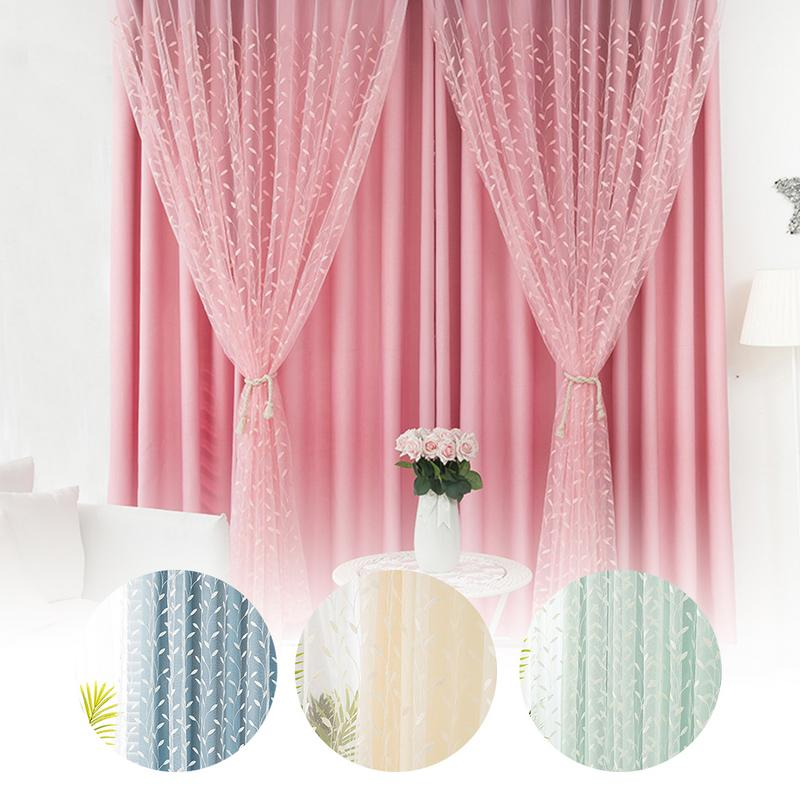 1PCS Colorful Double-Layer Gauze Curtains Hollowed Out Shading Embroider Bedroom Room Nordic Style Romantic Decor Curtains1PCS Colorful Double-Layer Gauze Curtains Hollowed Out Shading Embroider Bedroom Room Nordic Style Romantic Decor Curtains