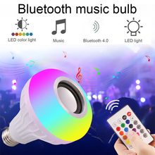 Беспроводная Bluetooth акустическая Лампа музыкальная лампа 12 Вт светодиодный RGB лампа 110 В 220 в музыкальный плеер аудио с пультом дистанционного управления