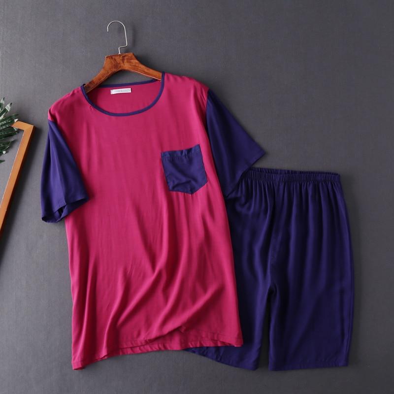 Men's Summer Short Sleeved Shorts Pyjamas Set Plus Size O-Neck Men Sleepwear Men Pajama Sets Leisure Pijama Two Piece Set