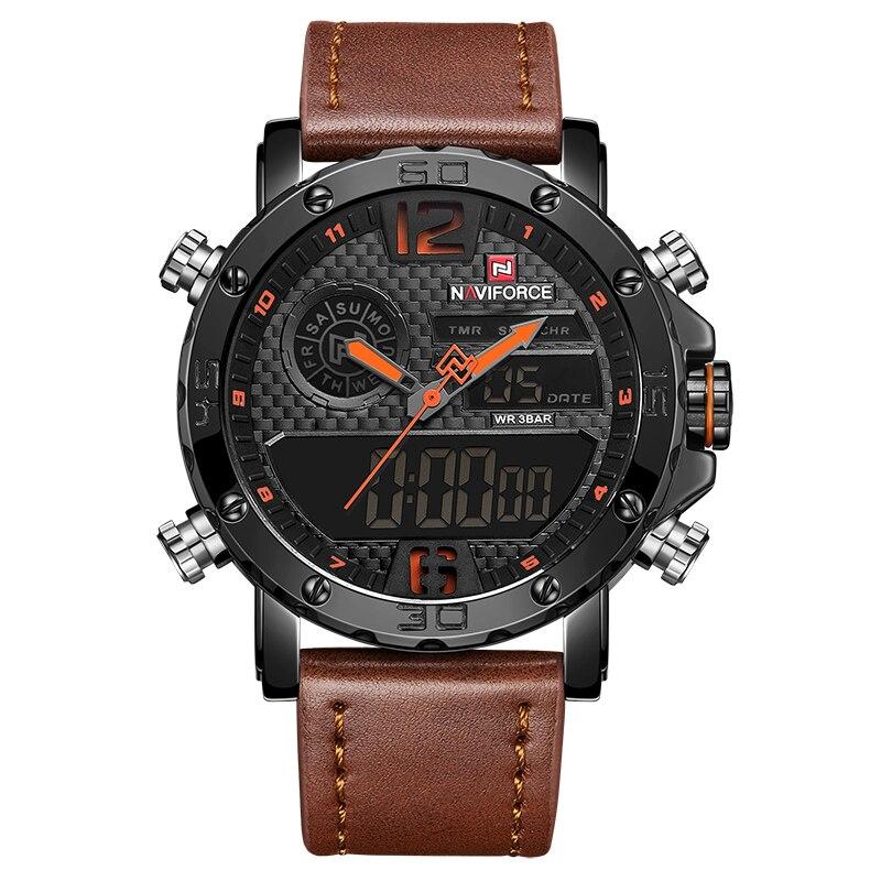 Montres hommes à marque de luxe hommes en cuir montres de sport NAVIFORCE hommes Quartz LED horloge numérique étanche montre-bracelet militaire