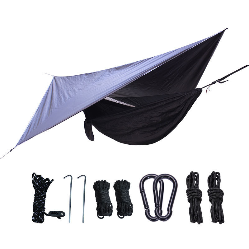Outdoor Anti-mosquito Net Hammock+Canoy Set Double Use Portable Camping Awning Tent For 1-2 People Sleeping Hanging Chair