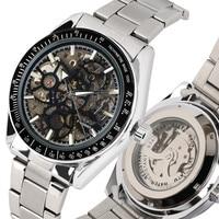 Mechanical Watch Men Automatic Wristwatches Gear Wheel Skeleton Display Men's Watches Steel Bangle Clock reloj Top Gifts