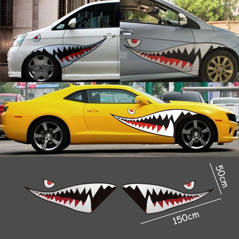Image 3 - 2X DIY Shark Mouth Tooth Teeth Graphics PVC Car Sticker Decal for Car Waterproof-in Car Stickers from Automobiles & Motorcycles