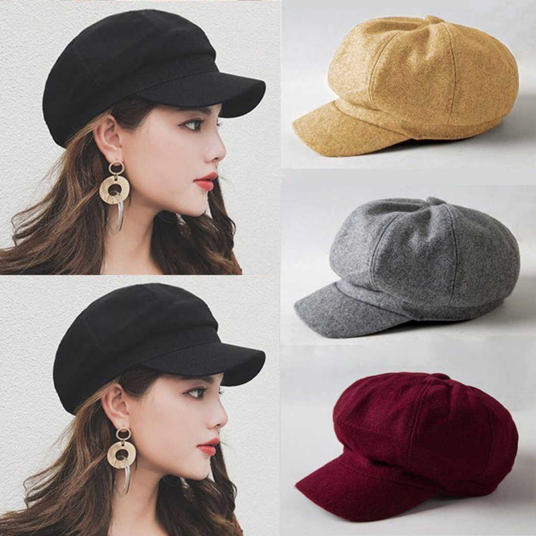 1d79a42809a34 Retro Women Wool Beret Hat Winter Spring Warm Baret Cap Elegant Female Solid  Color Newsboy French