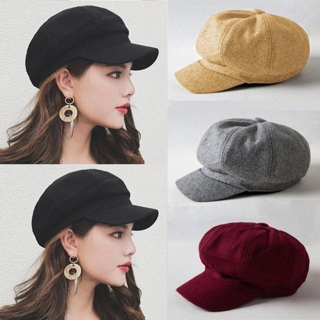 10bd58d6291 Vintage Women Beret Hat Winter Spring Warm Wool Baret Cap Elegant Female  Solid Color Newsboy French Hats Retro Artist Caps Boina