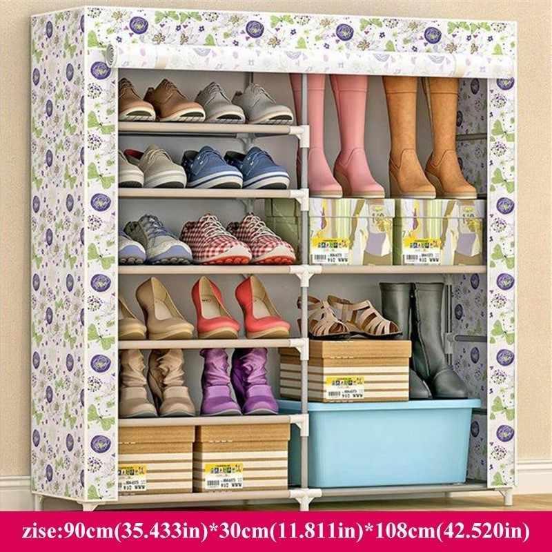 Большая емкость 6 сетки металлическая двойная подставка для обуви современный домашний ящик для хранения в сборе Пыленепроницаемая обувь стойка Органайзер стеллажи