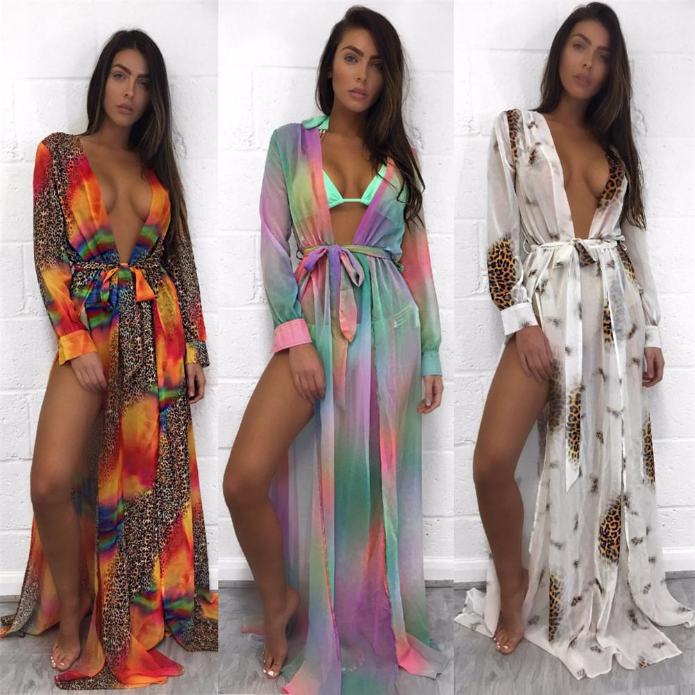 Women Colorful Chiffon Shawl Cardigan Tops Cover Up Blouse Summer Beach Dress Trim Bikini Swimsuit Women Beach Maxi Dress Платье
