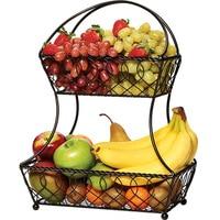 Iron Simple Living Room Kitchen Storage Fruit Basket Plaid 2 Layer Metal Fruit Basket Black