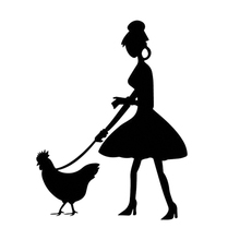 15*11cm Lady Walking Her Chicken Decal Car Accessories Window Bumper Sticker Car Decor Woman 15 7 7 7cm funny the walking family on board the walking dead zombie motorcycle decal window stickers car accessories sticker