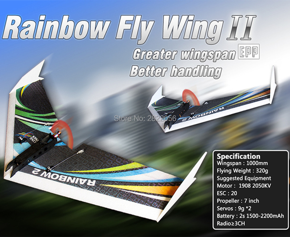 RC Plane EPP Airplane Model DW HOBBY Rainbow Fly Wing 1000mm Wingspan Tail push version RC