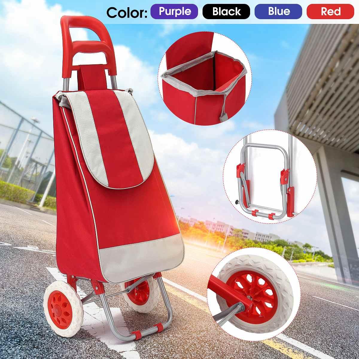45L Foldable Shopping Trolley Bag On Wheels Push Tote Cart C