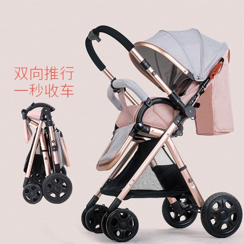 2019 wysokiej widok lekka spacerówka waga składane na cztery koła można usiąść może leżeć dziecko dwa-sposób wózek wózek z pościel bawełniana
