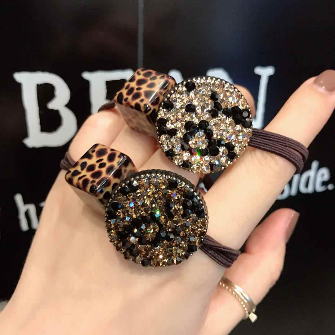Hot Sale Fancy Crystal Rubber Band Leopard Print Charm Bead Disc Paved Crystals Hair Band For Women Korean Hair Rope For Girl