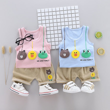 2019 Fashion Children Boys Girls Summer Clothing Suits Baby Cartoon Frog  Vest Shorts 2Pcs/Sets Kids Clothes Toddler Tracksuits toddler baby boys tracksuits 2017 summer children cartoon sports suits kids sleeveless vest shorts clothes outfit age 1 4t