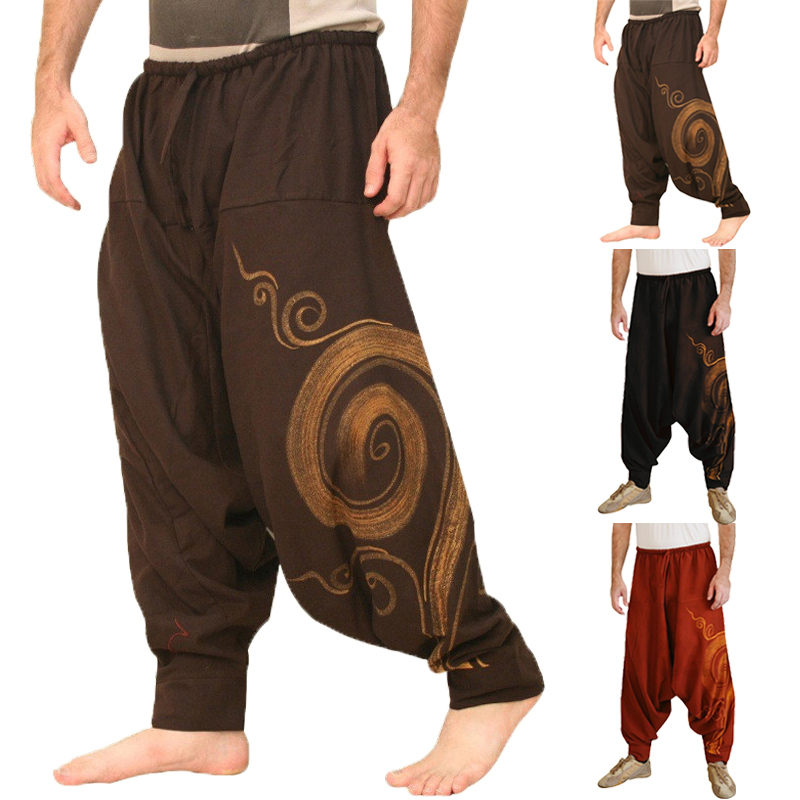 Punk Style Mens Harem Pants Baggy Sun Floral Pants Loose Fitness Cross-Pants Sweatpants Crotch Dance Joggers Trousers