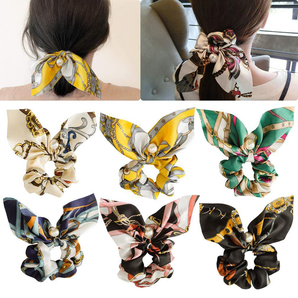 New Floral Elastic Hair Bands Bow Streamer Silk Scrunchies Pearl Ponytail Hair Rope Women Hair Ties Holder Knot Striped   Headwear